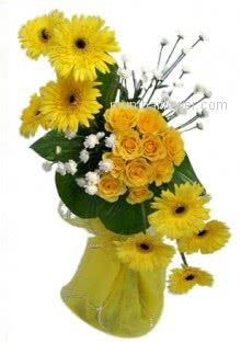 Arrangement of 10 Yellow Gerberas and 15 Yellow Roses for your deserved friend.