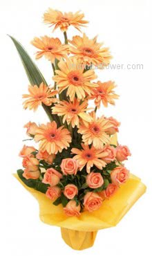 Arrangement of 12 Orange Gerberas and 15 Orange Roses are Best to say Happy Birthday!!!!!!!