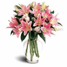 Glass Vase with 10 Stems of Rich Beutiful Pink Lilies the best way to make your special one special!