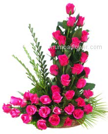 Loving and blossom dark pink with green combination of 45 roses with great arrangement for your loving ones.