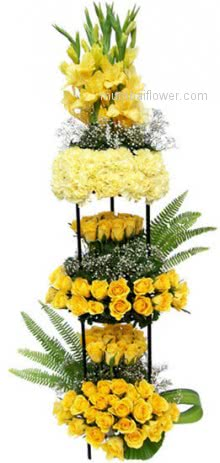 Arrangement of 15 Yellow Gladioli and 30 Yellow Carnations and 100 Yellow Roses, symbolize friendship, affection and joy, Send your best friend a bunch of these stunning blooms with a card that says, You will be my best friend forever! Please note: Photo is idea only , actual shipment may vary