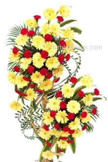 Big Arrangement of 50 Yellow Gerberas and 50 Red Carnations to make the moments very special and beautiful gift as ever.