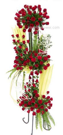 Life Size Arrangement of 150 Red Roses. Height Approx 4-5 Ft.helps you to express your emotions classically!! No needs of words!.
