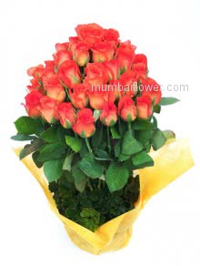 A bouquet of orange roses could indicate a desire to move a friendship into a more romantic relationship. Bunch of 40 Orange Roses.