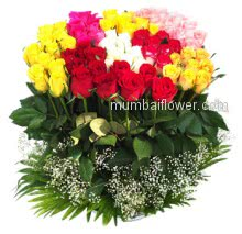 Arrangement of 70 Mixed Roses like a small garden to make the occasion colorful!