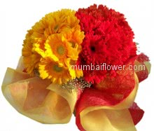 The great combination of yellow and  red gerberas in a Bunch of 30 stems of Gerberas beautifully decorated with frills.