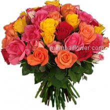 Bunch of 40 Mixed Colour Roses for your loved ones for any occasion Valentines day, Mothers day, Birth day, Anniversary..........