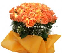 Perfect for a fiery romantic evening.Bunch of 24 Stems of Orange Roses