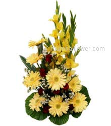 A cheerful Arrangement of 10 Yellow Gladioli and 10 Yellow Gerberas to cheer your friend who cheered you in your life.