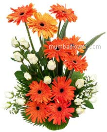 Smart arrangement of 10 Orange Gerberas and 20 White Roses by florist to make any occasion perfect.