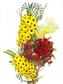 Perfect to make person and occasion Happy and Energetic with lovingly which shows your sense of express Mixed Tall Arrangement with 60 Gerberas and Carnations.