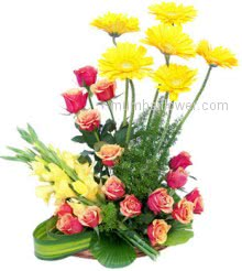 The special flowers are arranged specially in flowers Arrangement of 6 Yellow Gerberas, 15 Pink Roses and 5 Yellow Roses