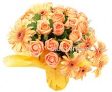 Bunch of 30 Orange Roses and 10 Orange Gerberas express happiness and energy!