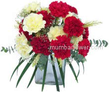 Glass Vase with 20 Red and Yellow Carnations expresses your friendliness and love with care.