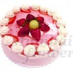 Strawberry Cake when you will eat you will say only mmmmmmmm....... n Beautifully decorated with fresh strawberries