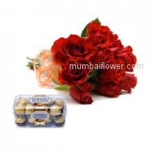 Bunch of 6 Red Roses for your love with Ferrero Rocher 200 gms ( 16 pcs )