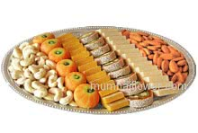 Box of Mix Mithai 1 Kg. and Box of Half Kg. Mixed Dry Fruit will make your festival greatly celebrated.....Thali not included