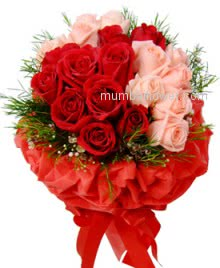 To express how you love and care of your beautiful love with beautiful Red love flowers and cute Red and Pink Roses decorated with fillers and Ribbons. Total 30 Roses