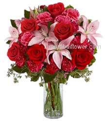 Glass Vase with 10 Red Roses, 10 Pink Carnation and 3 PC Pink Lilies with greens