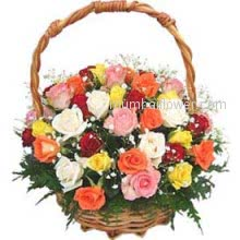 Beautiful Basket of 30 Mixed Roses a divine combination will fill its colors in your Love's heart.