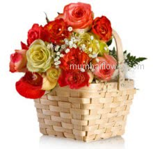Lovely combination of beautfiful colors of roses in a Basket of 30 Mixed Roses for Valentines Day