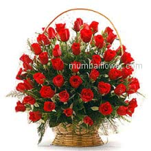 Wonderful Basket of 40 Valentine Red Roses for your Love!!