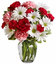 Glass Vase with 20 Red and Pink Carnation, 10 Red Roses and 10 White Gerberas with greens