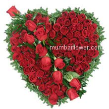 Valentines Day Heart Shape of 100 Red Roses Gift your heart to your Valentine.