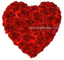 Valentines Day Heart Shape 40 Red Roses make your Loves Valentine day most memorable day of life.