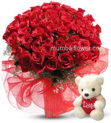 Send Message of your heart to your loves heart with this beautiful Bunch of 100 Valentine Red Roses to express your love with cute lovely teddy.