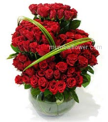 Beautiful Arrangement of 70 Red Roses for your Valentine