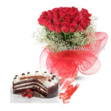 Bunch of 20 Valentine Red Roses. Half kg Black forest Cake.for your Valentine.