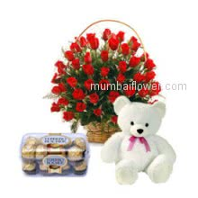 Basket of 40 Red Roses. 16 pc Ferrero Rocher Chocolate and Teddy will make recipients evening.