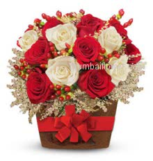 Beautifully Arranged roses in a basket decorated with beautiful satin red ribbon, 30 Red and White Roses in a Basket for Valentines Day