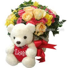 A lovely Love Bouquet to your love, Cute 30 Mixed Roses With Cute Teddy