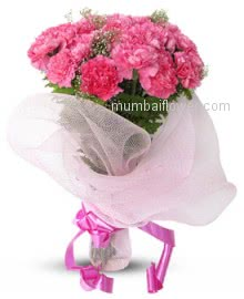 Bunch of 20 Cute Pink Carnations to a beautiful lady.