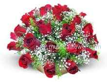 30 Red Roses in a Basket for your Valentine, on Valentine day special.