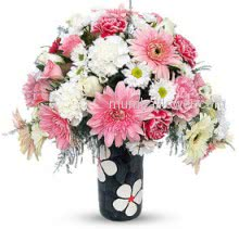 Mixed Flowers in Pinkish in a Simple Glass Vase a wonderful gift. 20 Pink and White Gerberas, 20 Pink and White Carnation and 20 White and Pink Roses