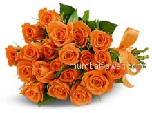 Bunch of 24 Bright Orange Roses for your love