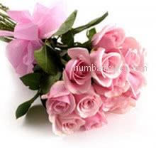 Bunch of 15 Beautiful Pink Roses  are so innocent and pure to say I Love you, or just I care for you. Dark or light pink roses will be delivered as per availibility