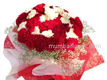Lovely Bunch of 40 Red and White Carnations beautifully decorated with red and white nets.
