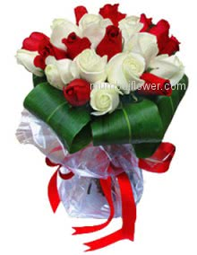 Bunch of 30 Red and White Roses for Friendship.