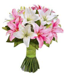 Bunch of Oriental Lilies 5 Pink and 5 White Lilies for Her