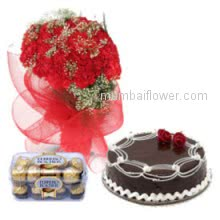 Valentineday special combo, Bunch of 25 Red Carnations. 16 pc Ferrero Rocher and Half kg Chocolate Cake