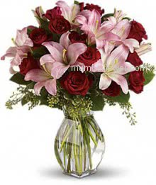 Valentine Red Roses and Pink Lilies in a Simple Glass Vase. 20 Red Roses and 8 PC Lilies