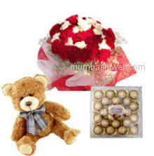 A wonderful gift combo, Bunch of 30 Red and White Carnations. 24 pc Ferrero Rocher and 12 Inch Teddy