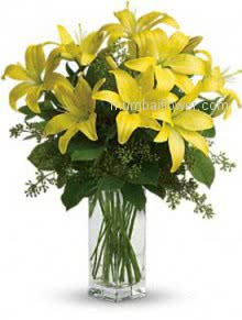 Wonderful 10 Yellow Lilies in a Glass Vase.