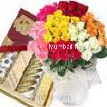 Bunch of 70 Mixed Color Roses and Pack of 1 kg Assorted Mithai
