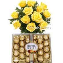 Bunch of 12 Yellow Roses and 24 pc Ferraro Rocher Chocolates