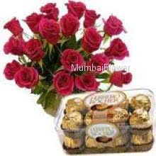 Bunch of 20 Red Roses and 16 Pc Ferraro Rocher Chocolates